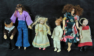 Vintage Dolls House Figures - Six Child Dolls for Spares or Repair
