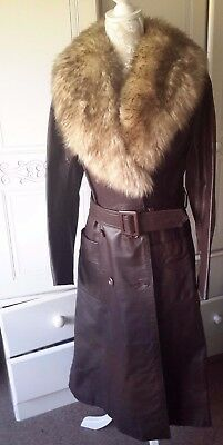 Vintage  Brown Real Leather Belted Coat Shaggy Fur Collar 1970s
