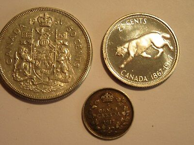 Lot of 3 Canada Silver Coins, 1917 5 cent, 1961 50 cent, 1967 25 cent