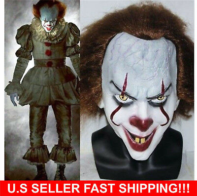 Stephen King's It Mask Pennywise Clown Halloween Costume 2017 -Fast shipping