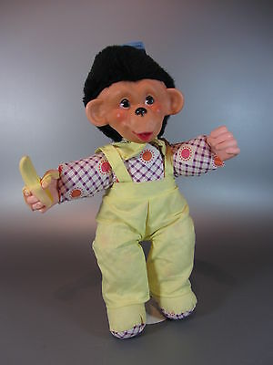 Vintage Reliable TOY 1968 Boys Monkey Doll Stuffed Rubber face Plush w/ Overalls