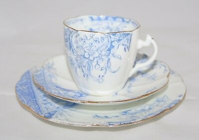 Antique Shelley Foley Wileman 'Kensington' Pattern Lily Shape Blue Trio - 4711