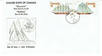 1977 Thedford, Ont. 12c Sailing Ships Pair First Day Cover FDC Grover Cachet