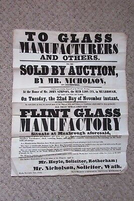 Authentic 1842 Auction Poster For Flint Glass Works At Mexbrough, Yorkshire