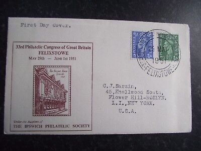 First Day Cover 1951 33rd Philatelic Congress  FELIXSTOWE