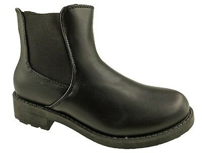 Ladies Fashion Pull On Faux Leather Chelsea Ankle Boots Black Size 3-8