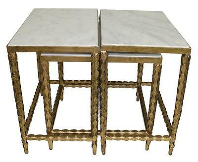 Beautiful Set of 3 Marble Top Antique Gold Iron Nesting Coffee/Side Tables