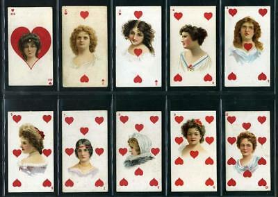 Rare Antique Cards BEAUTIES PLAYING CARDS SUPERIMPOSED x 51 Different 1900