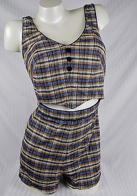 Vintage 40s Pinup Playsuit MED LARGE Swim Suit Plaid Gingham Catalina ?