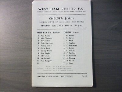 West Ham United Reserves v Chelsea Juniors London Youth Cup Final 1969/70