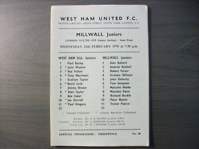 West Ham United Reserves v Millwall Juniors London Youth Cup  Semi Final 1969/70