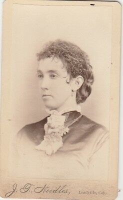 Cdv 1881 Photographer J.t. Needles,leadville,colo,lady Messy Curly Braided Hair