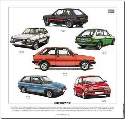 FORD FIESTA Fine Art Print - Supersport XR2 Mk1 Mk2 1300S & RS Turbo illustrated