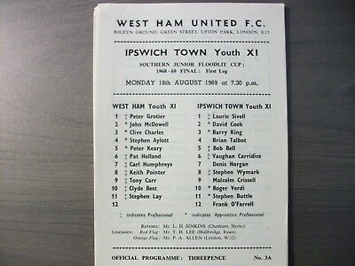 West Ham United Youth v Ipswich Town Youth SJFC Final 1968/69