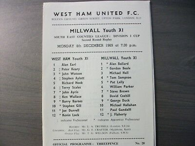 West Ham United Youth v Millwall Youth SECL Cup 1969/70