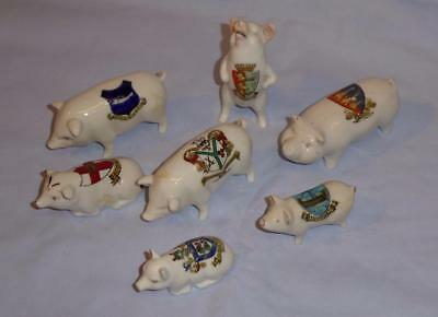 Group Of Seven Crested Ware Pigs / Piglets Some Arcadian / Carlton