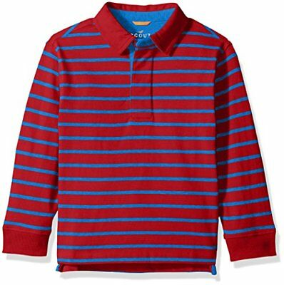 Scout + Ro Big Boys' Stripe Rugby Shirt, Red/Electric Blue, 8