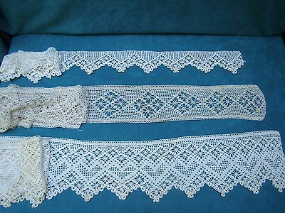 LOT 3 PIECES OF HAND CROCHETED LACE EDGING Vintage Antique