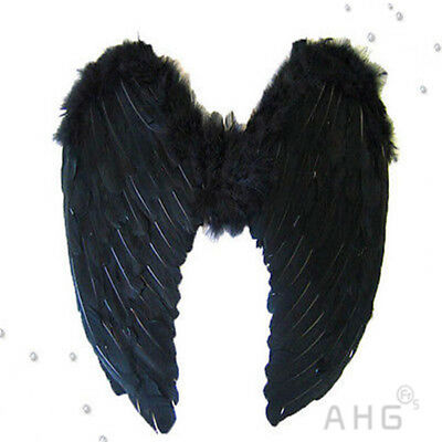 New Black Halloween Angel Fairy Wings Costume Hen Night Feathers Outfit Adult UK