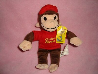 "Curious George Monkey wearing red ballcap / hat Plush & Beans 9"" W/Tags"