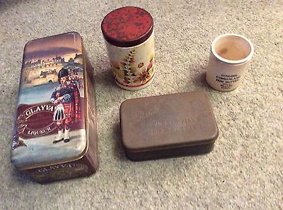 Collection of 3 vintage tins and a ceramic jar