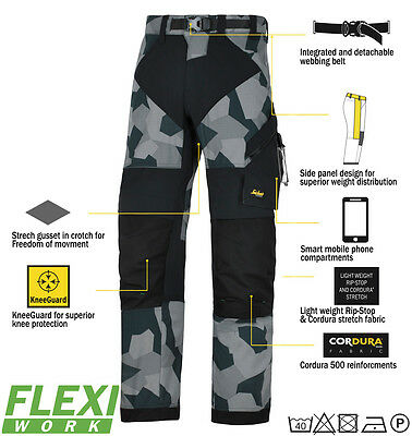 Snickers 6903 flexiWork antidéchirures PANTALONS HOMME gris camouflage Snid