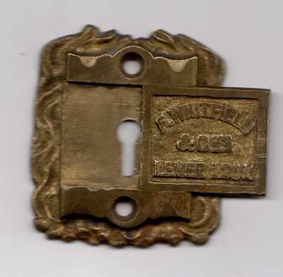 Antique Brass Escutcheon Key Hole Cover - F Whitfield & Co cir.1900's