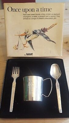 falstaff silver plated gift cup fork spoon once upon a time