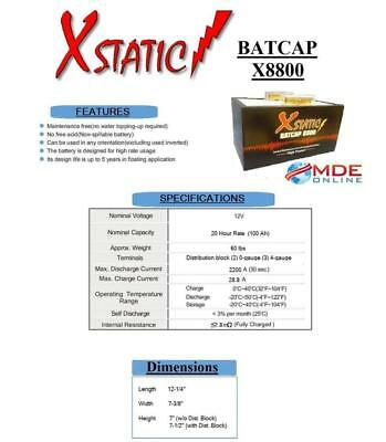 Xstatic Model X8800 - 100 Amp Hour - Competition Car Audio Battery -