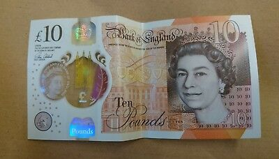 New Polymer Ten Pound Note £10 - AA Serial Number