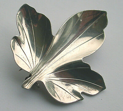Sterling silver Hermann Siersbol modernist  leaf brooch, 1960s