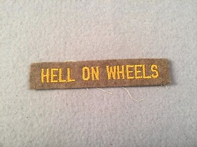 WW2 US Army 2nd Armored Division Hell On Wheels Felt Tab Patch 429K