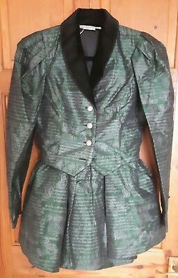 Vintage 1980s Principles two piece suit. jacket and skirt. green and black. s/10