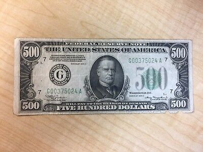 1934-A   $500  Five Hundred  Bill   Circulated  Currency  No Reserve