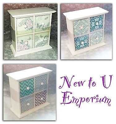 Vintage look~Small chest of wooden drawers white patterned-NEW