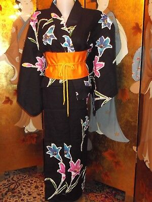 Authentic  Vintage Japanese  Yukata Kimono Black With Vibrant Lilies, Cotton