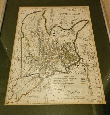 Antique Map c1868 Durham City Royal Engineers Mounted