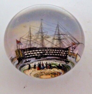 Victorian Glass Paperweight Of H.m.s. Victory At Portsmouth