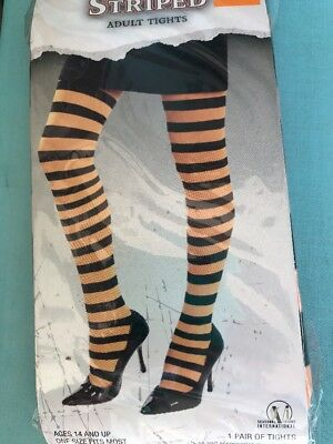 c8e66f05dffe6 New Adult Halloween Orange Black Stripe Tights Costume Accessory Witch