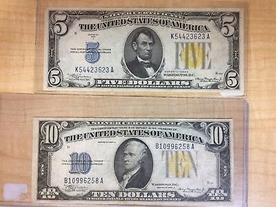 1934 A $5 & 10 Dollar North Africa Issue Silver Certificate No Reserve