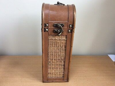 Unusual Antique Wooden Wine Bottle Box Leather Trim