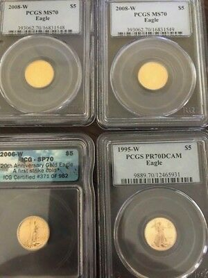 2008-W 4 COIN MIXED LOT, Burnished Gold American Eagle MS-70 PCGS