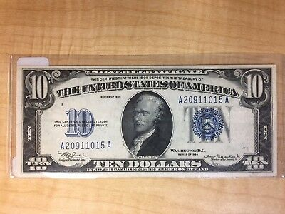 1934 $10 Silver Certificate  Blue Seal Fr# 1701 No Reserve