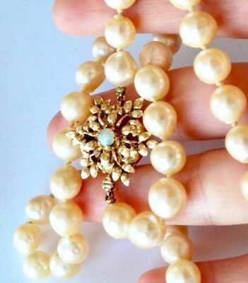 LONG BIG Saltwater pearls Golden shade saltwater pearls 14k opal clasp necklace