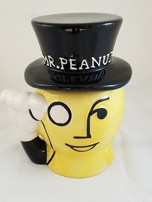 """Mr Peanut 9"""" tall ceramic cookie candy nut jar planters collectable"""