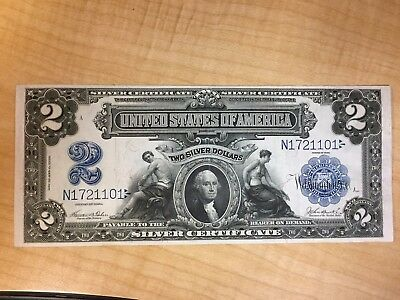 Fr# 256 1899 $2  Dollars Large Size Silver Certificate Currency Note  No Reserve