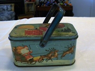 "Vintage Santa ""Twas the Night Before Christmas"" Tindeco Candy Tin Lunch Box"