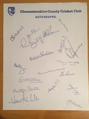 c1993 Gloucestershire CCC Signed by 18 Players on Official Team Sheet inc Russel