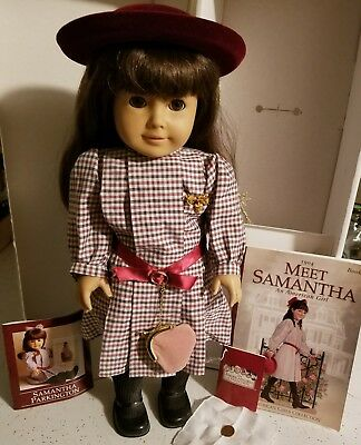 "American Girl Samantha 2008 18"" Doll- Meet Outfit- Plaid Dress, Hat, Tights, Pin"