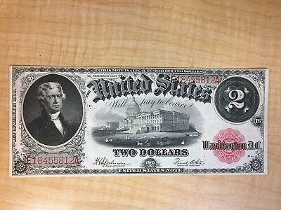 1917 $2 Dollar Bill Red Seal United State Large Currency  No Reserve